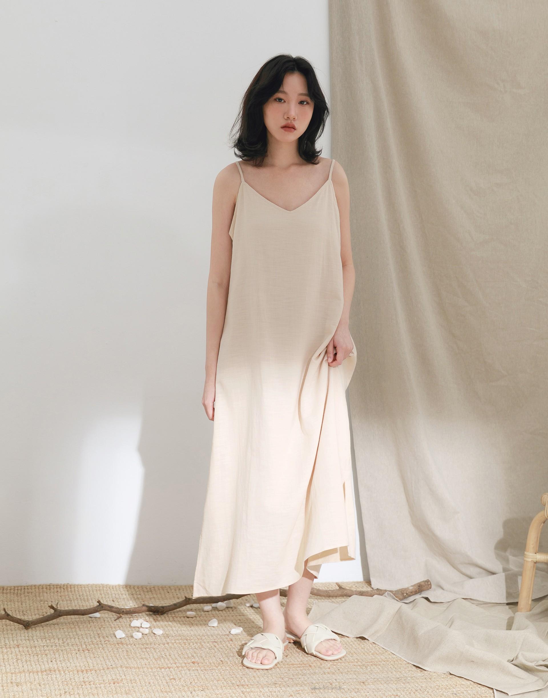 清新微性感棉麻洋裝-女-Genquo