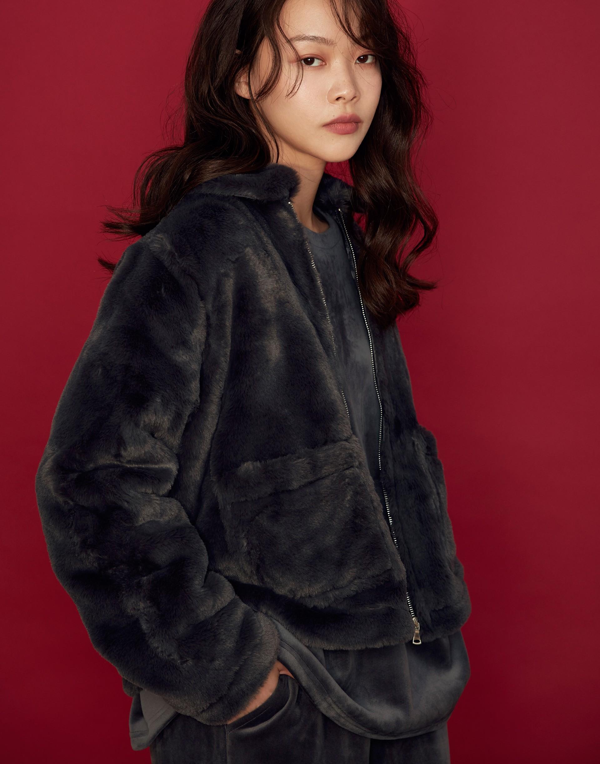 仿貂毛時髦夾克外套-女-Genquo