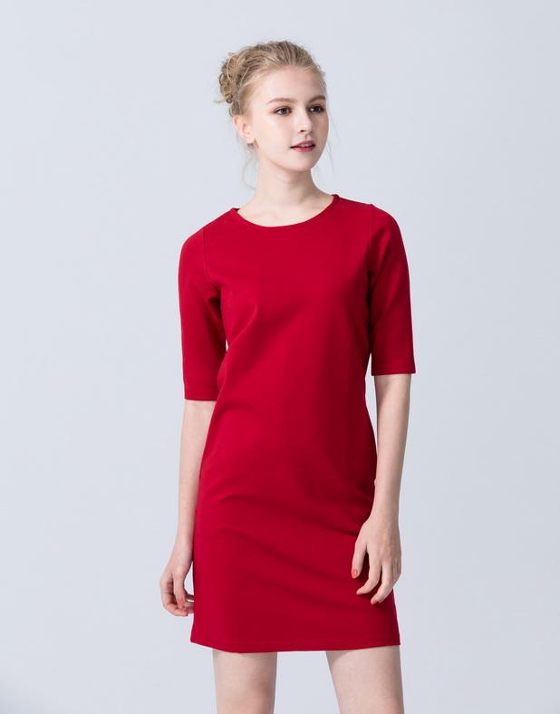 彈性羅馬布五分袖洋裝-女-Genquo