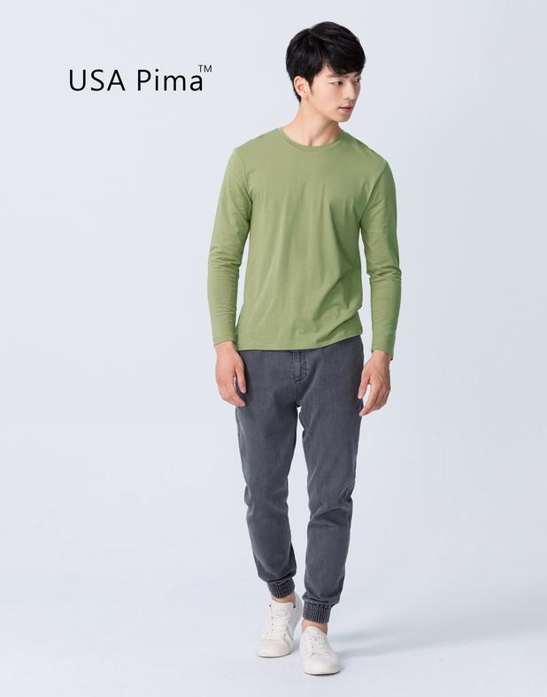 PIMA棉+海藻紗圓領長袖T-男-Genquo