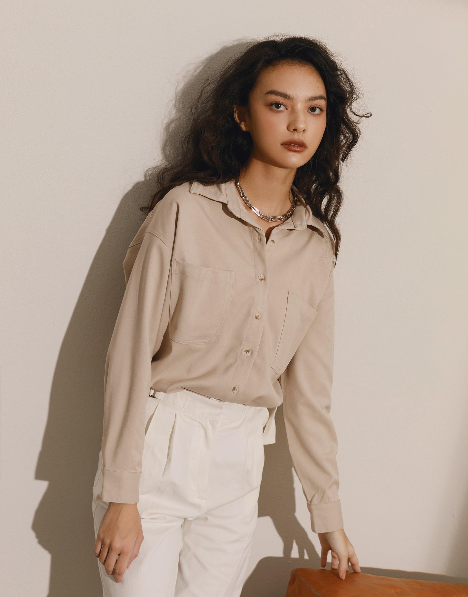 前短後長質感厚磅襯衫外套-女-Genquo