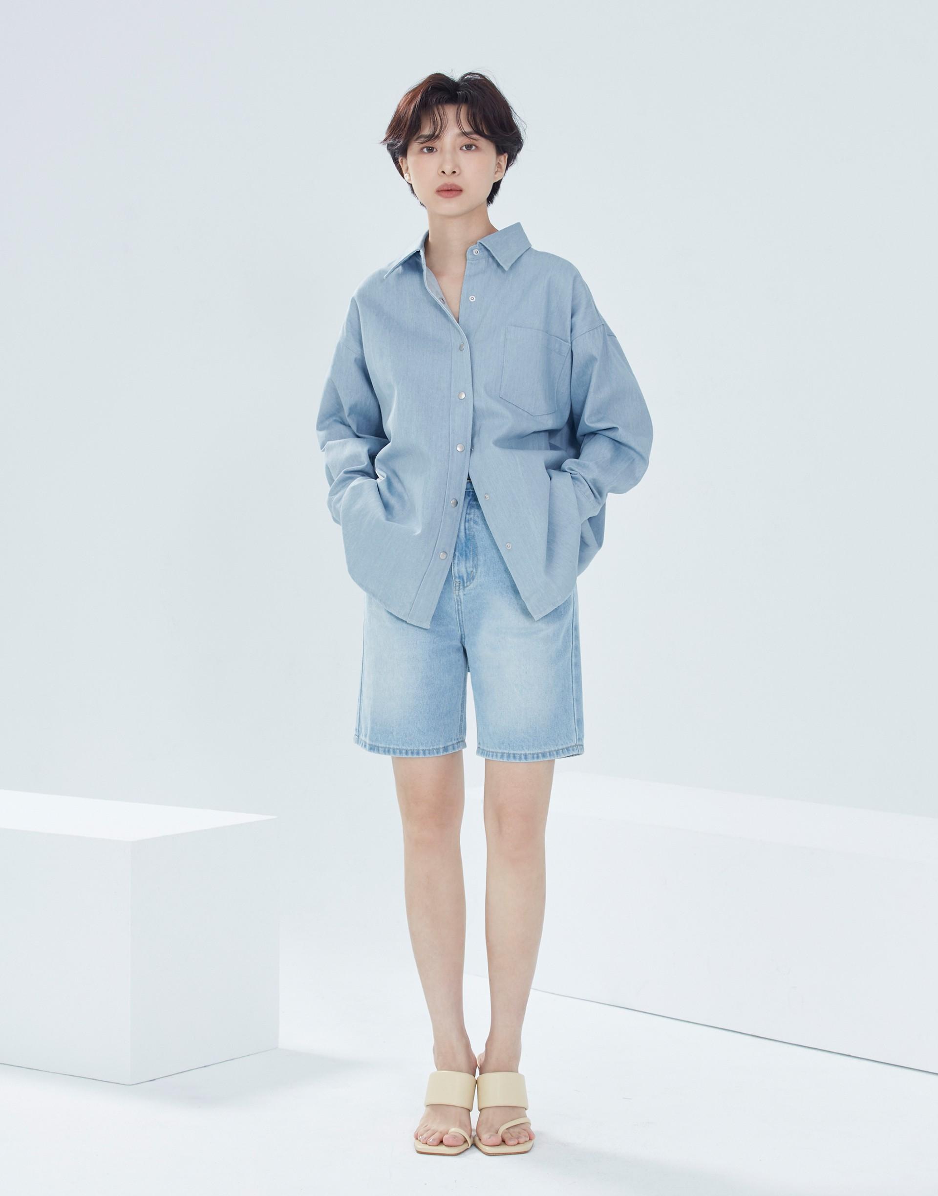 清爽厚磅藍單寧襯衫外套-女-Genquo